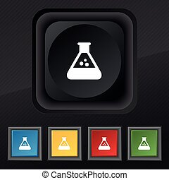 chemistry icon symbol. Set of five colorful, stylish buttons...
