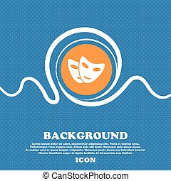 mask icon sign. Blue and white abstract background flecked with space for text and your design. Vector