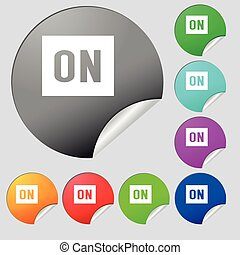 ON icon sign. Set of eight multi colored round buttons, stickers. Vector