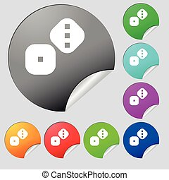 Dice Cubes icon sign. Set of eight multi colored round buttons, stickers. Vector