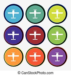 Plane icon sign. Nine multi colored round buttons. Vector