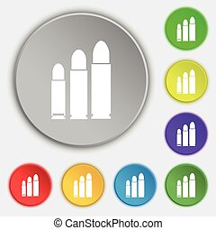 bullet Icon sign. Symbol on eight flat buttons. Vector...