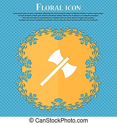 Battle axe icon icon. Floral flat design on a blue abstract background with place for your text. Vector