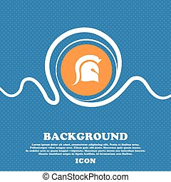 Spartan Helmet icon sign. Blue and white abstract background...