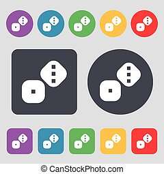 Dice Cubes icon sign. A set of 12 colored buttons. Flat...