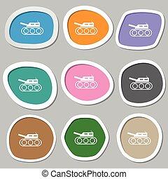 Tank, war, army icon symbols. Multicolored paper stickers....