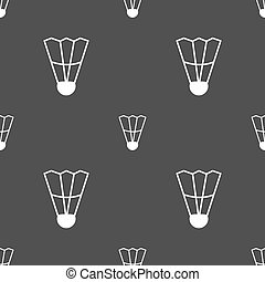 Shuttlecock icon sign. Seamless pattern on a gray background. Vector