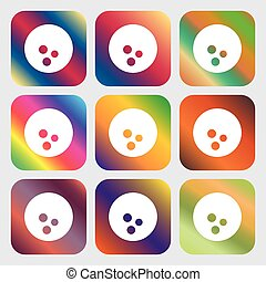 Bowling icon . Nine buttons with bright gradients for beautiful design. Vector