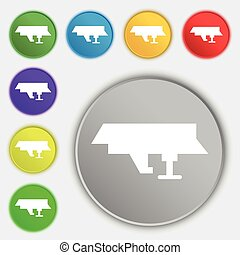 Ships, boats, cargo icon sign. Symbol on eight flat buttons. Vector