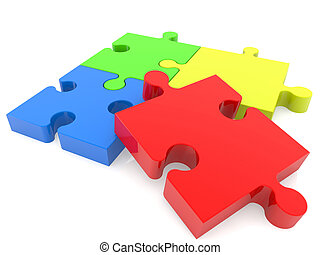 Four puzzle pieces in various color