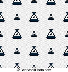 chemistry icon sign. Seamless pattern with geometric...