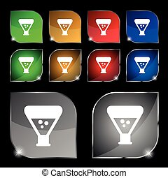 chemistry icon sign. Set of ten colorful buttons with glare....