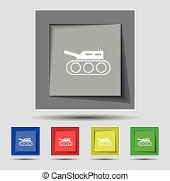 Tank, war, army icon sign on original five colored buttons....