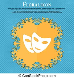 mask icon icon. Floral flat design on a blue abstract background with place for your text. Vector