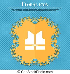 Working vest icon icon. Floral flat design on a blue abstract background with place for your text. Vector