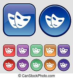 mask icon sign. A set of twelve vintage buttons for your design. Vector