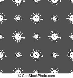 Bacteria icon sign. Seamless pattern on a gray background....