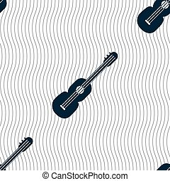 acoustic guitar icon sign. Seamless pattern with geometric texture. Vector