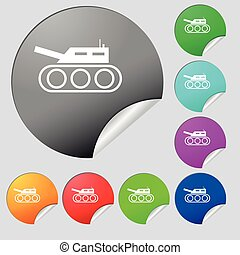 Tank, war, army icon sign. Set of eight multi colored round...