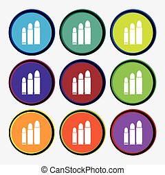 bullet Icon sign. Nine multi colored round buttons. Vector...