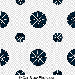 Basketball icon sign. Seamless pattern with geometric texture. Vector
