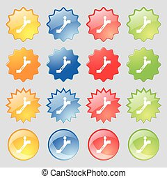 escalator down Icon sign. Big set of 16 colorful modern buttons for your design. Vector