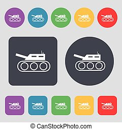 Tank, war, army icon sign. A set of 12 colored buttons. Flat...