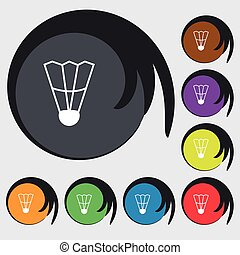 Shuttlecock icon sign. Symbols on eight colored buttons. Vector