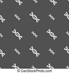 DNA icon sign. Seamless pattern on a gray background. Vector