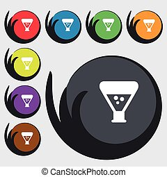 chemistry icon sign. Symbols on eight colored buttons....