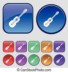 acoustic guitar icon sign. A set of twelve vintage buttons for your design. Vector