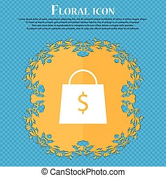 shopping bag icon icon. Floral flat design on a blue abstract background with place for your text. Vector