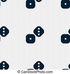 Dice Cubes icon sign. Seamless pattern with geometric...