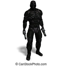 science fiction male character in futuristic suit 3D...