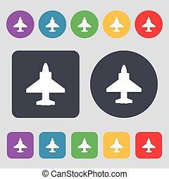 Aircraft or Airplane Icon sign. A set of 12 colored buttons. Flat design. Vector