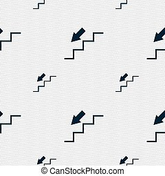 descent down icon sign. Seamless pattern with geometric...