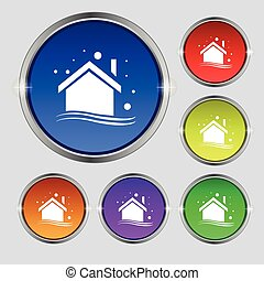 Winter house icon sign. Round symbol on bright colourful buttons. Vector