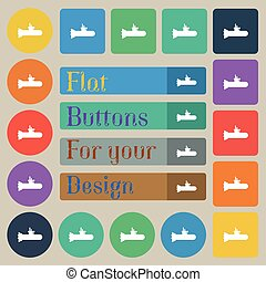 submarine icon sign. Set of twenty colored flat, round, square and rectangular buttons. Vector