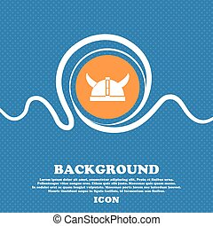 viking helmet icon sign. Blue and white abstract background flecked with space for text and your design. Vector