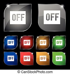OFF icon sign. Set of ten colorful buttons with glare. Vector sign. Set of ten colorful buttons with glare. Vector