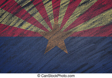 Arizona flag painted with colored chalk on a blackboard. -...