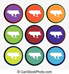 Ships, boats, cargo icon sign. Nine multi colored round buttons. Vector