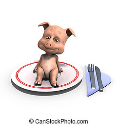 cute and funny toon pig served on a dish as a meal. 3D rendering with clipping path and shadow over white