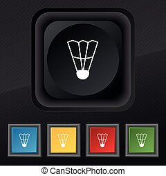 Shuttlecock icon symbol. Set of five colorful, stylish buttons on black texture for your design. Vector