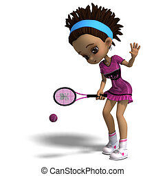 sporty toon girl in pink clothes plays tennis. 3D rendering with clipping path and shadow over white