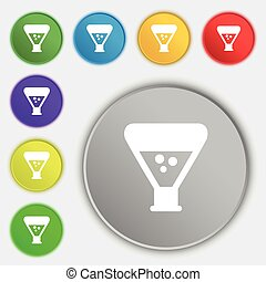 chemistry icon sign. Symbol on eight flat buttons. Vector...