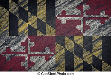 Maryland flag painted with colored chalk on a blackboard.