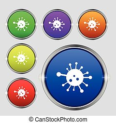 Bacteria icon sign. Round symbol on bright colourful buttons. Vector