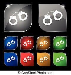 handcuffs icon sign. Set of ten colorful buttons with glare....