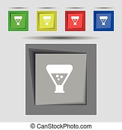 chemistry icon sign on original five colored buttons. Vector...
